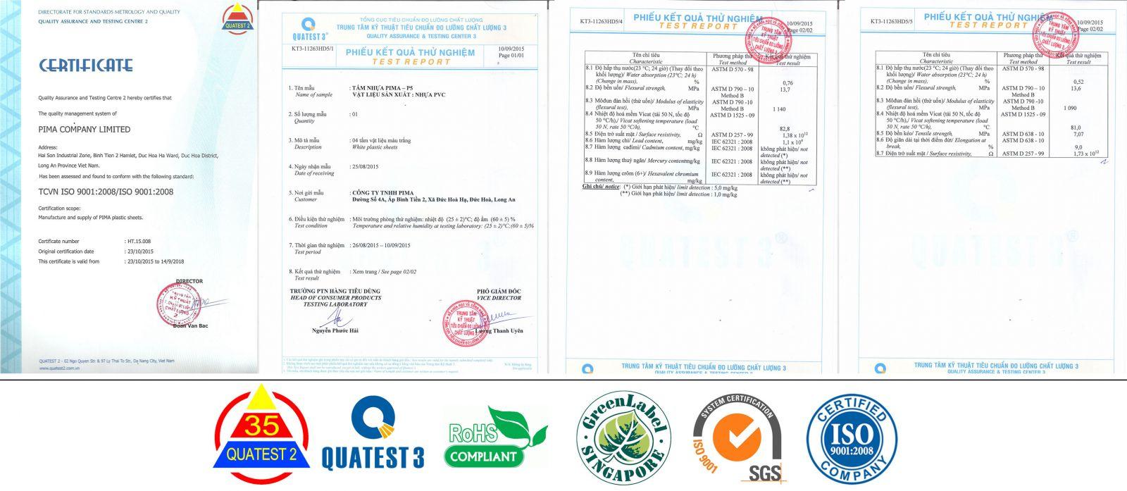 chứng nhận chất lượng tấm nhựa pvc foam pima